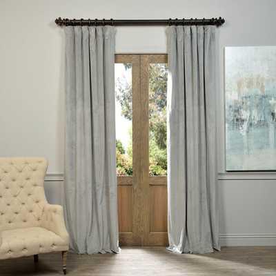 "Exclusive Fabrics Signature Silver Grey Velvet Blackout Curtain Panel-96"" - Overstock"