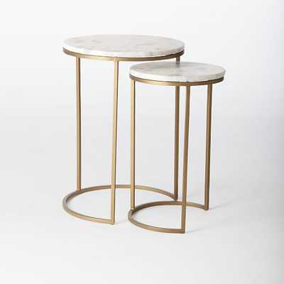 Round Nesting Side Tables Set - Marble/Antique Brass - West Elm