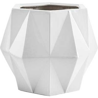 home/outdoor/view all outdoor/isla large white geometric planter   isla large white geometric planter - CB2