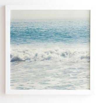 """Malibu Waves, Framed Wall Art, 30""""x30"""", Basic White Frame - Wander Print Co."""