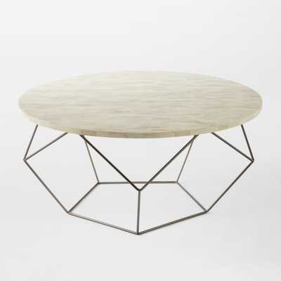 Origami Oversized Coffee Table, Bone / Gunmetal - West Elm