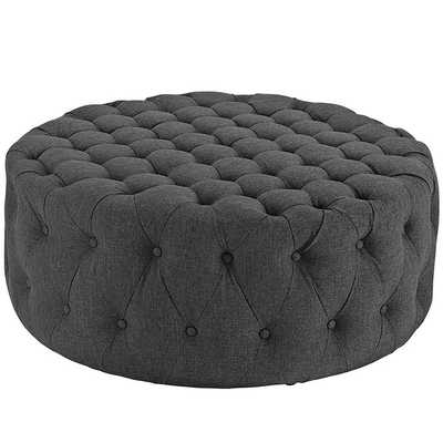 AMOUR UPHOLSTERED FABRIC OTTOMAN IN GRAY - Modway Furniture