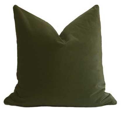 Belgium Velvet Pillow Cover - Olive Green - Willa Skye