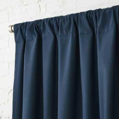 "Navy Blue Basketweave II Curtain Panel 48""x120"" - CB2"