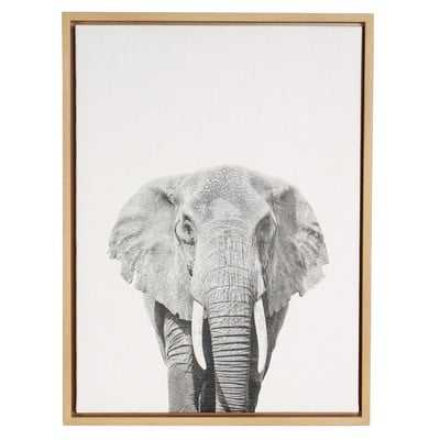 Sylvie 'Elephant Black and White Portrait' by Simon Te Tai Framed Photographic Print on Wrapped Canvas - Wayfair