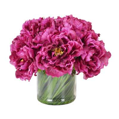 Magenta Peony Bouquet in Acrylic Water Glass Vase - Wayfair