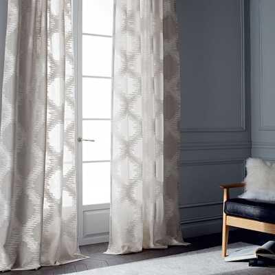 Trellis Clipped Jacquard Curtain - Belgian Flax/Ivory - West Elm