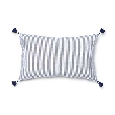 NAVY FRENCH STRIPE PILLOW- 16'' x 26''- insert not included - Caitlin Wilson