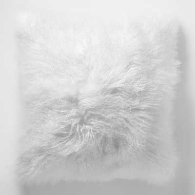 "Mongolian Lamb Fur Pillow, 16""x16"", Stone White - West Elm"