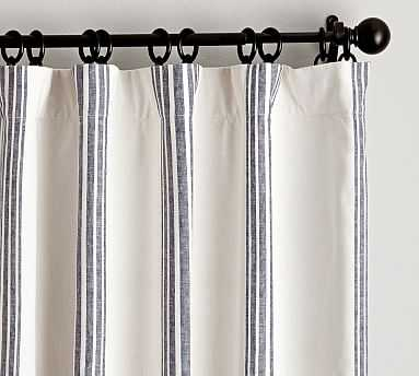 "Riviera Striped Linen/Cotton Rod Pocket Curtain, 50 X 96"", Navy - Pottery Barn"