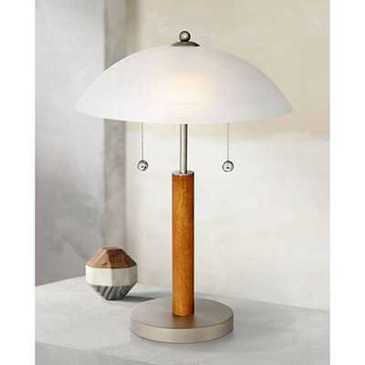 Orbital Brushed Steel and Wood Table Lamp - Lamps Plus