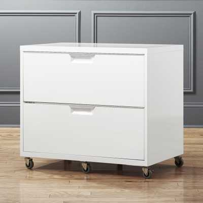 TPS White Wide Filing Cabinet - CB2