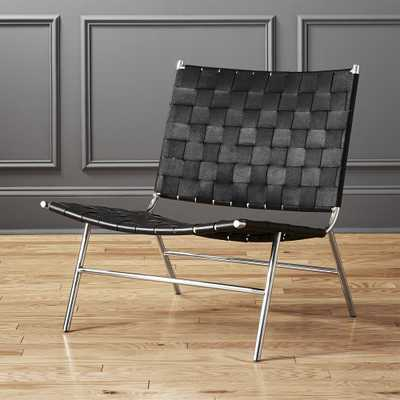 Black Woven Leather Chair - CB2