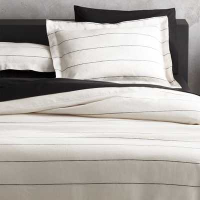 Linen Pinstripe Duvet Cover Full/Queen - CB2