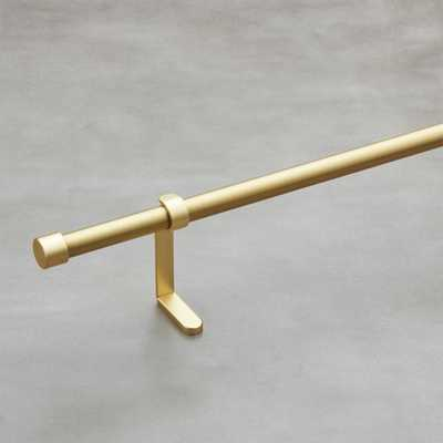 "Brushed Brass Curtain Rod Set 48""-88""x.75""dia. - CB2"