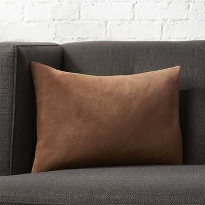 """18""""x12"""" Loki Brown Suede Pillow with Feather-Down Insert."" - CB2"