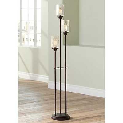Libby Oiled Bronze 3-Light Seeded Glass Floor Lamp - Lamps Plus