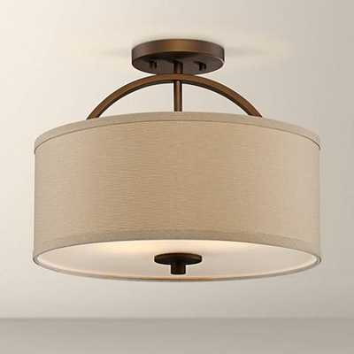"""Halsted Brushed Bronze Semi-Flush 15"""" Wide Ceiling Light - Lamps Plus"""