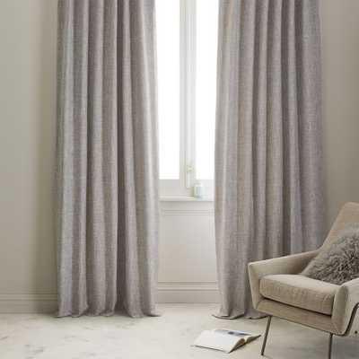"Crossweave Curtain + Blackout Liner - Stone White - 84"" - West Elm"
