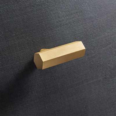 Hex Brass Bar Knob- brushed brass - CB2