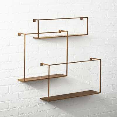Antiqued Brass Floating Shelves Set of 3 - CB2