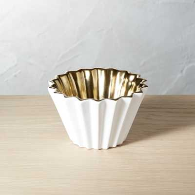 Crinkle White and Gold Bowl - CB2