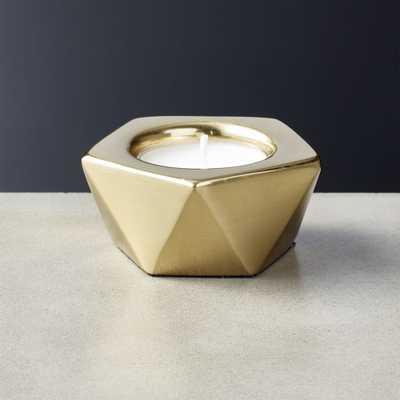 Gami Brass Tea Light Candle Holder - CB2