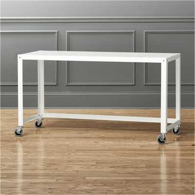 go-cart white rolling console table - CB2