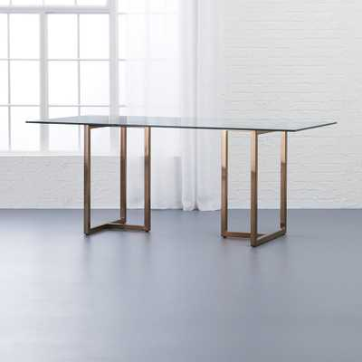"""silverado brass 72"""" rectangular dining table"" - CB2"