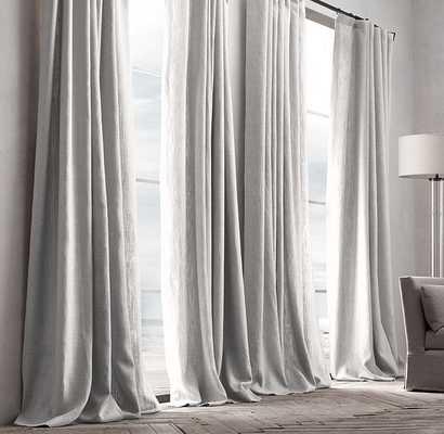 """Belgian Textured Linen Drapery - White - 96""""x50""""- ROD-POCKET - RH"""