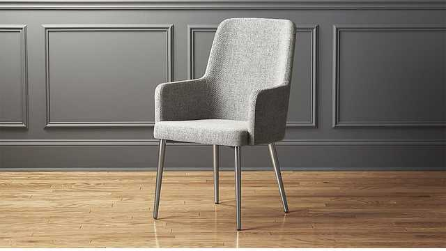 aragon stone grey and silver chair - CB2