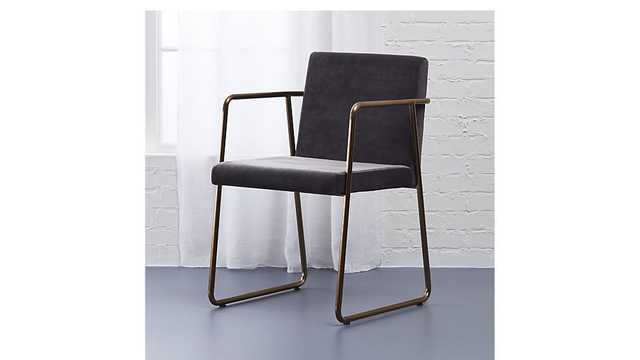 rouka grey velvet chair - CB2