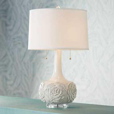 Possini Euro Natalia White Floral Table Lamp - Lamps Plus