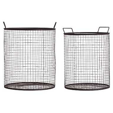 Wire Storage Baskets, Set Of 2 , Charcoal - Pottery Barn Teen