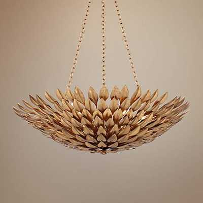 """Crystorama Broche 24"""" Wide Antique Gold Pendant Light - Lamps Plus"""