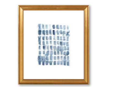 "Blue Wash Blocks - 10"" x 12"" with gold leaf wood frame and mat - Artfully Walls"