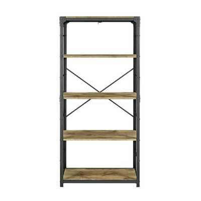 Barnwood Angle Iron Bookshelf - Home Depot