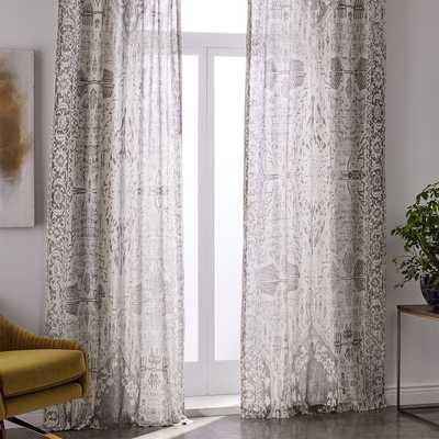 Sheer Cotton Distressed Medallion Curtains (Set of 2) - Cloudburst - West Elm