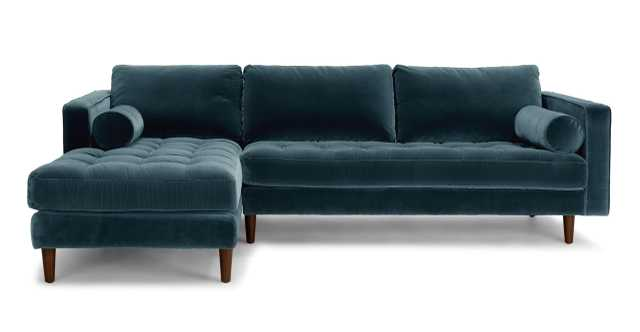 Sven Pacific Blue Left Sectional Sofa - Article
