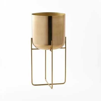 Spun Metal Standing Planter - Brass - West Elm