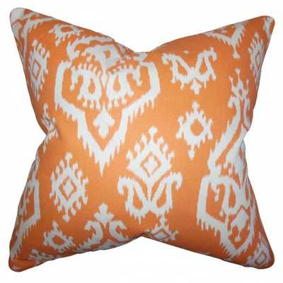"Ife Ikat Pillow Orange, 18""x18"" With Polyester Insert - Linen & Seam"