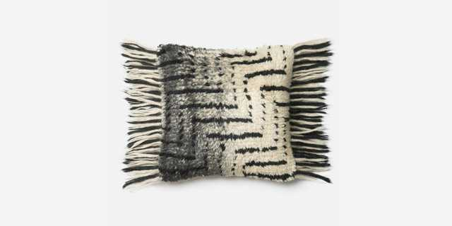 P0335 Black / Ivory Pillow - With Down Insert - Loma Threads