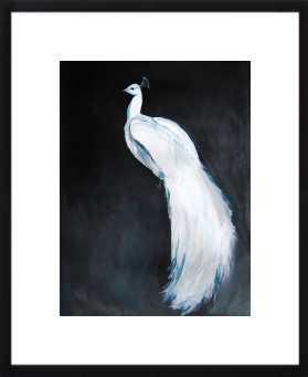 "White Peacock II- 16""x20""- Thin Black Wood, frame width 0.5"", depth 0.5"" - Artfully Walls"