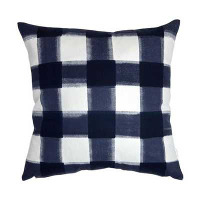 "NAVY BURNSIDE BUFFALO CHECK PILLOW - 20"" x 20"" - Insert sold separately - Caitlin Wilson"