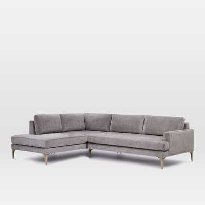 "Andes Terminal Chaise Sectional - Metal, Worn Velvet - Large (96.5"" w) Right Arm - West Elm"