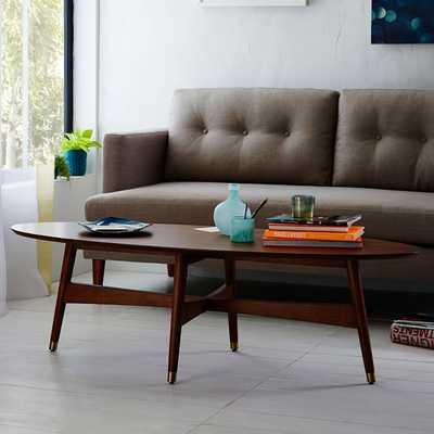 Reeve Mid-Century Oval Coffee Table - Pecan - West Elm