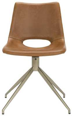 DANUBE MIDCENTURY MODERN LEATHER SWIVEL DINING CHAIR-Set of 2 - Arlo Home