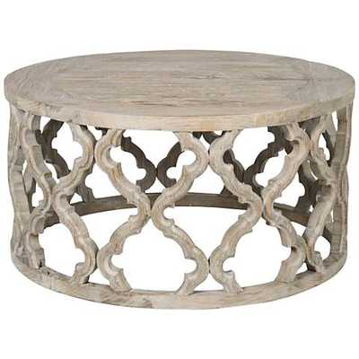 Bella Antique Clover Smoke Gray Wood Coffee Table - Lamps Plus