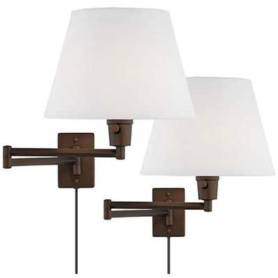 Clement Plug-In Swing Arm Wall Lamp Set of in Bronze 2 - Lamps Plus