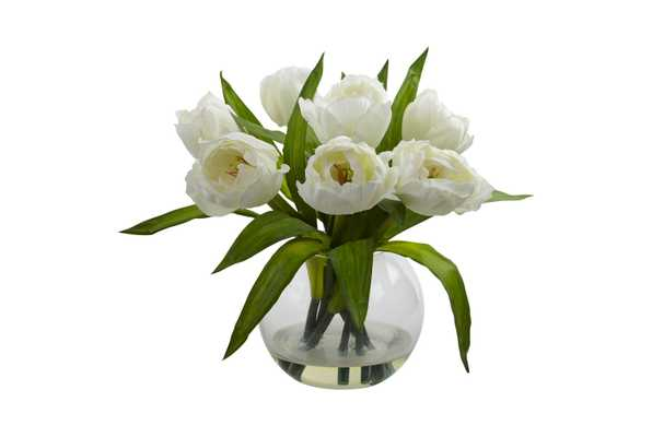Nearly Natural Tulips Arrangement with Vase White - Target
